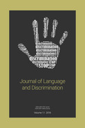 "journal cover, showing image of hand in ""stop"" gesture imprinted with text"